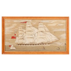 Wool Work 'Woolie' Needlepoint Embroidery of the British Ship Amelia
