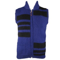WOOLRICH L Purple & Black Geometric Wool Shawl Collar Vest