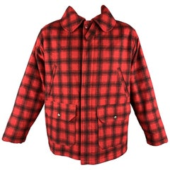 WOOLRICH Size L Red & Black Plaid Wool Hidden Buttons Hunter Coat