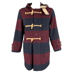 WOOLRICH Size M Burgundy & Navy Stripe Wool / Nylon Hooded Coat