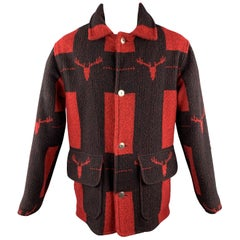 WOOLRICH Size S Red & Black Plaid Wool / Nylon Buttoned Patch Pockets Coat