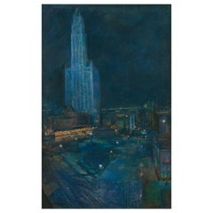 """""""Woolworth Tower & City Park"""" Painting by Ethel Wallace '1885-1968', USA, 1913"""