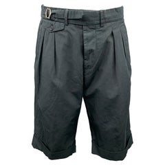 WOOSTER + LARDINI Size 32 Charcoal Cotton / Flax Button Fly Pleated Shorts