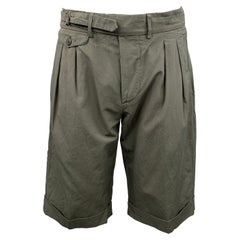 WOOSTER + LARDINI Size 32 Olive Cotton Blend Button Fly Shorts