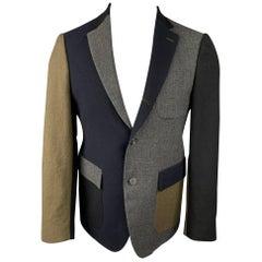 WOOSTER + LARDINI Size 38 Navy & Grey Color Block Wool Sport Coat