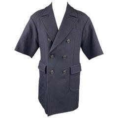 WOOSTER + LARDINI Size 38 Navy Wool Double Breasted Short Sleeve Coat