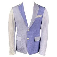 WOOSTER + LARDINI Size 40 Blue & White Two Toned Cotton Sport Coat