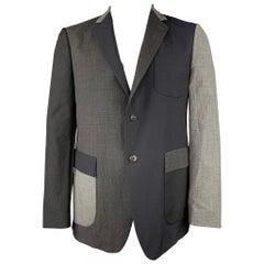 WOOSTER + LARDINI Size 44 Black & Grey Color Block Wool Sport Coat
