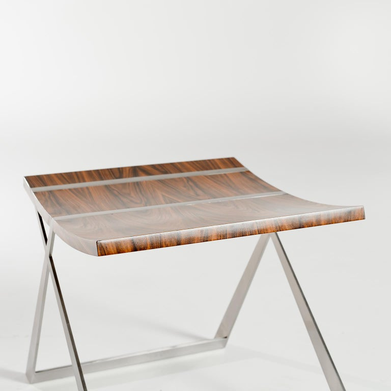 Modern Wooster Stool in Rosewood and Silver Leaf by Dean and Dahl For Sale