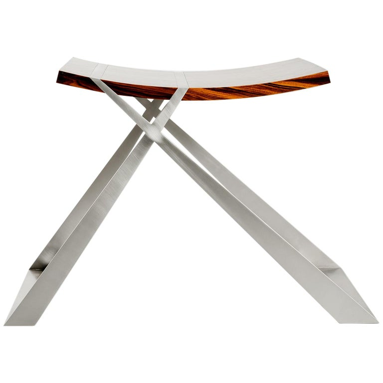 Wooster Stool in Rosewood and Silver Leaf by Dean and Dahl For Sale