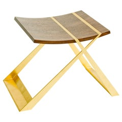 Wooster Stool, in Walnut and Gold Leaf, by Dean and Dahl