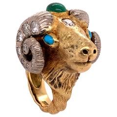 Worboys Vintage Diamond and Gemstone Ram's Head Ring