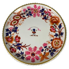 """Worcester Armorial Cake Plate Hand-Painted w Crest & Motto """"Steadfast in Honour"""""""