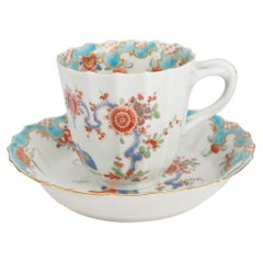 Worcester Fluted Coffee Cup & Saucer, 'Quail' Pattern, Blue Rococo Border c.1775