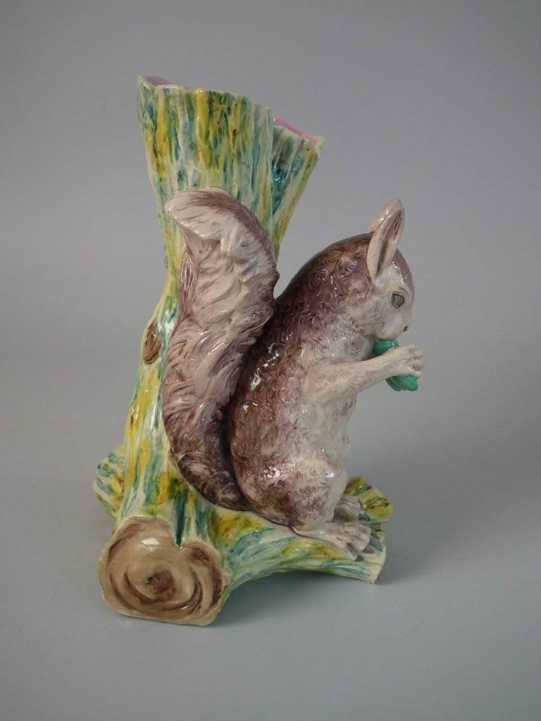 Glazed Worcester Majolica Squirrel Figural Vase For Sale