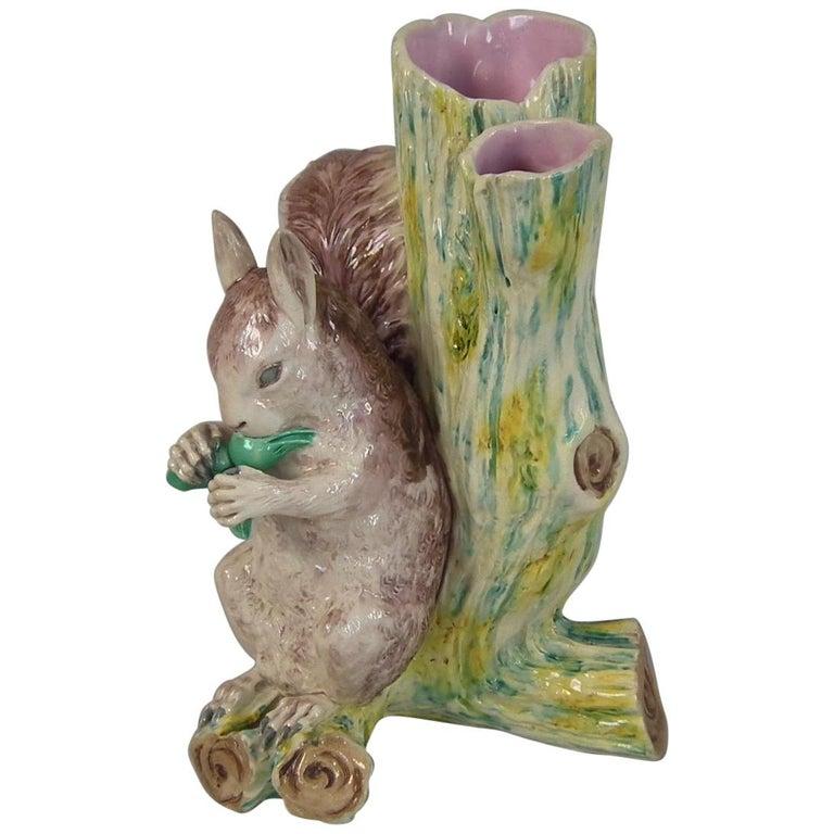 Worcester Majolica Squirrel Figural Vase For Sale