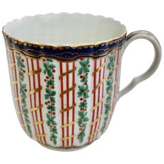Worcester Orphaned Porcelain Coffee Cup, Hop and Trellis, Georgian, circa 1775
