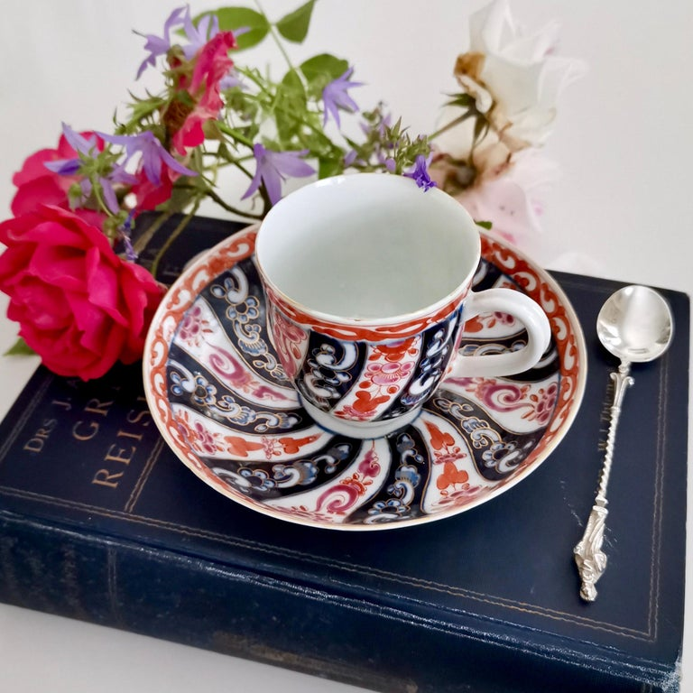 This is a beautiful coffee cup and saucer made by Worcester circa 1770 in their First or the