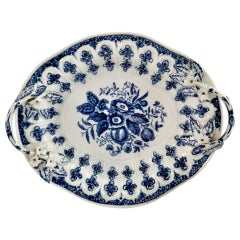 Worcester Porcelain Dish, Blue on White Pine Cone Pattern, circa 1770