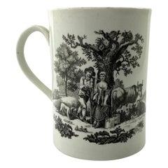 Worcester Porcelain Printed Mug, Rural Lovers, c. 1765