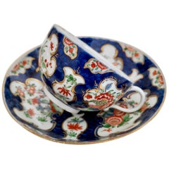 Worcester Porcelain Teacup, Blue Scale Japanese Kakiemon, 1st Period circa 1765