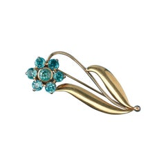 Wordley, Allsopp and Bliss Gold and Zircon Flower Brooch