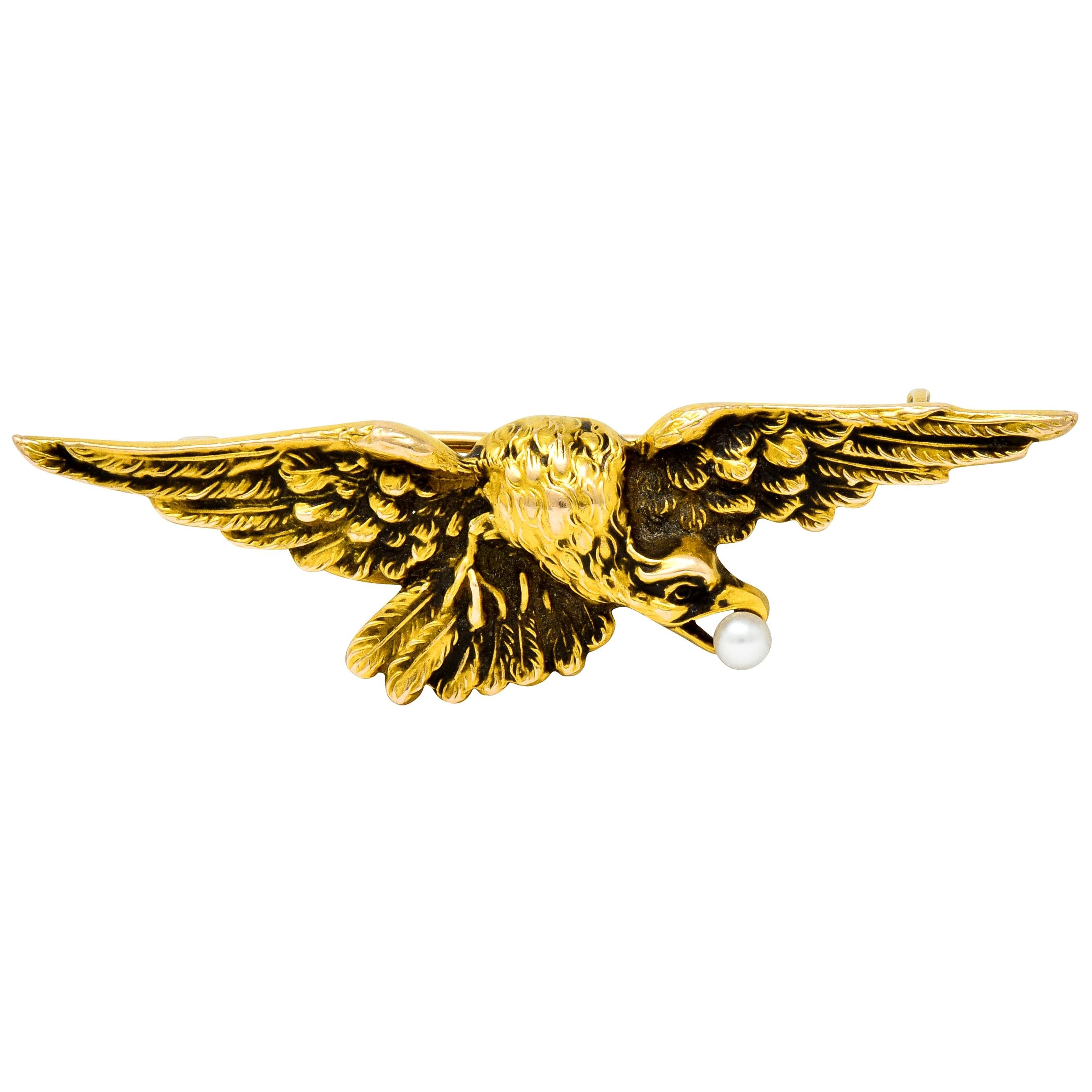Wordley Allsopp & Bliss Art Nouveau Pearl 14 Karat Gold Eagle Brooch
