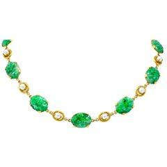 Wordley Alsopp & Bliss 1940s Retro Jade Pearl 14 Karat Link Necklace