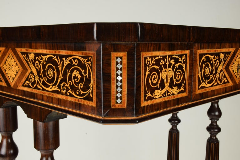 Inlay Work Table, Florentine Cabinetry, circa 1850 For Sale