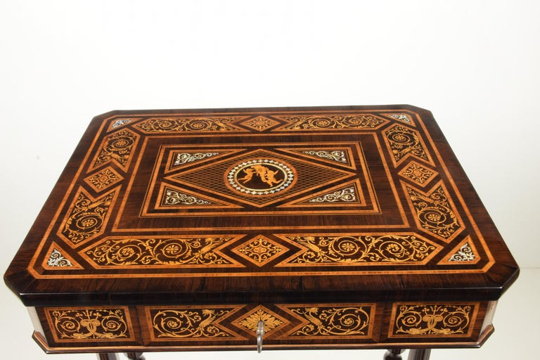 Mother-of-Pearl Work Table, Florentine Cabinetry, circa 1850 For Sale
