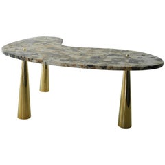 Work Table in Granite and Cast Brass