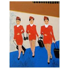'Working Girls' Portrait Painting by Alan Fears Pop Art