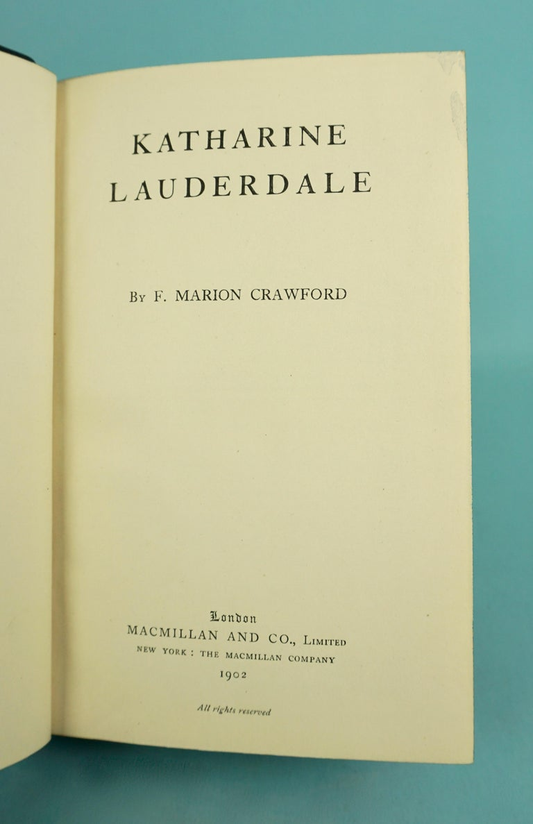 Works of F. Crawford in 5 Volumes Bound in Blue Morocco Leather with Gilt Spines For Sale 5