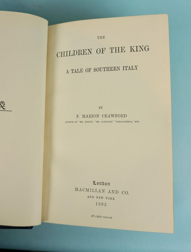 The works of Victorian period American author F. Marion Crawford (1854-1909) an erudite novelist born in Italy, the son of a sculptor. The set includes some of his better known works such as Children of the KIng, a Tale of Italy, Roman Singer and A