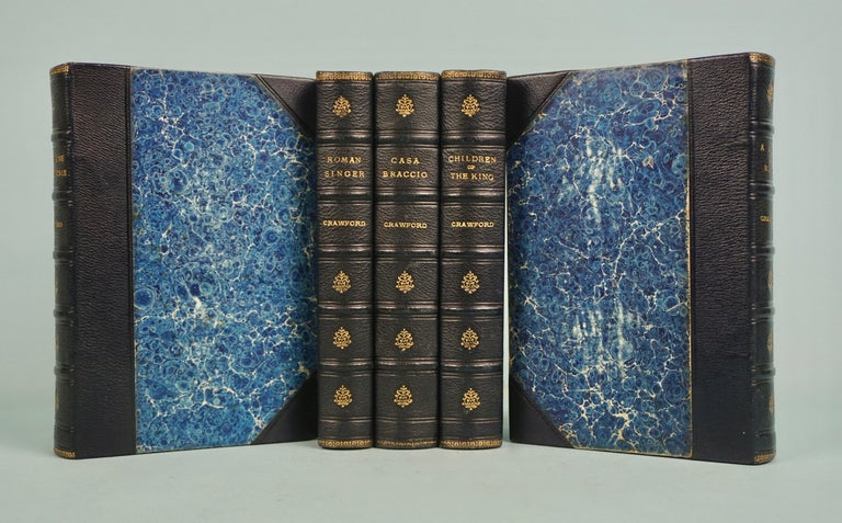 American Works of F. Crawford in 5 Volumes Bound in Blue Morocco Leather with Gilt Spines For Sale