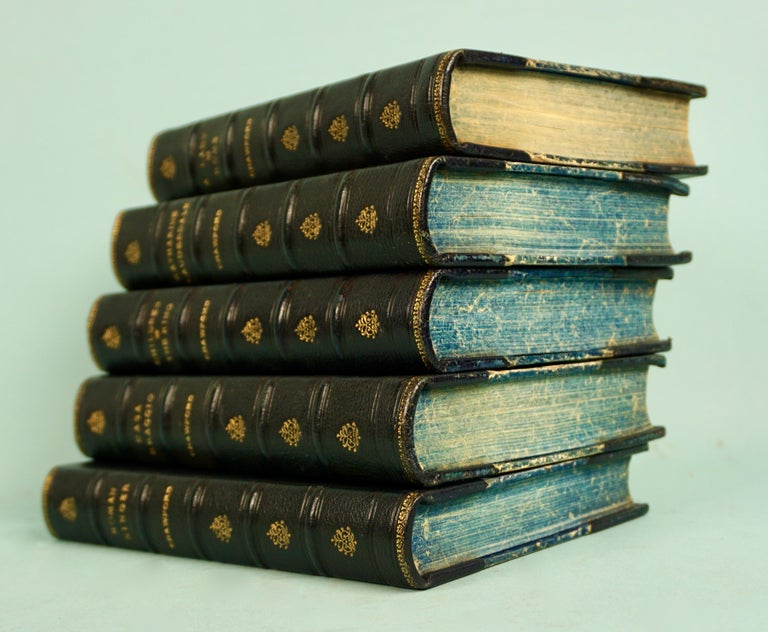 19th Century Works of F. Crawford in 5 Volumes Bound in Blue Morocco Leather with Gilt Spines For Sale