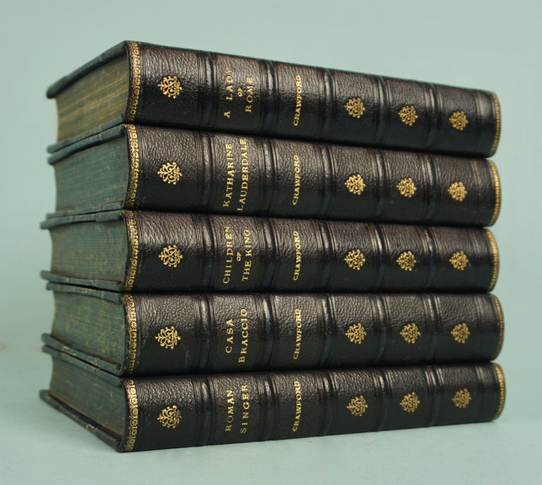 Works of F. Crawford in 5 Volumes Bound in Blue Morocco Leather with Gilt Spines For Sale 2