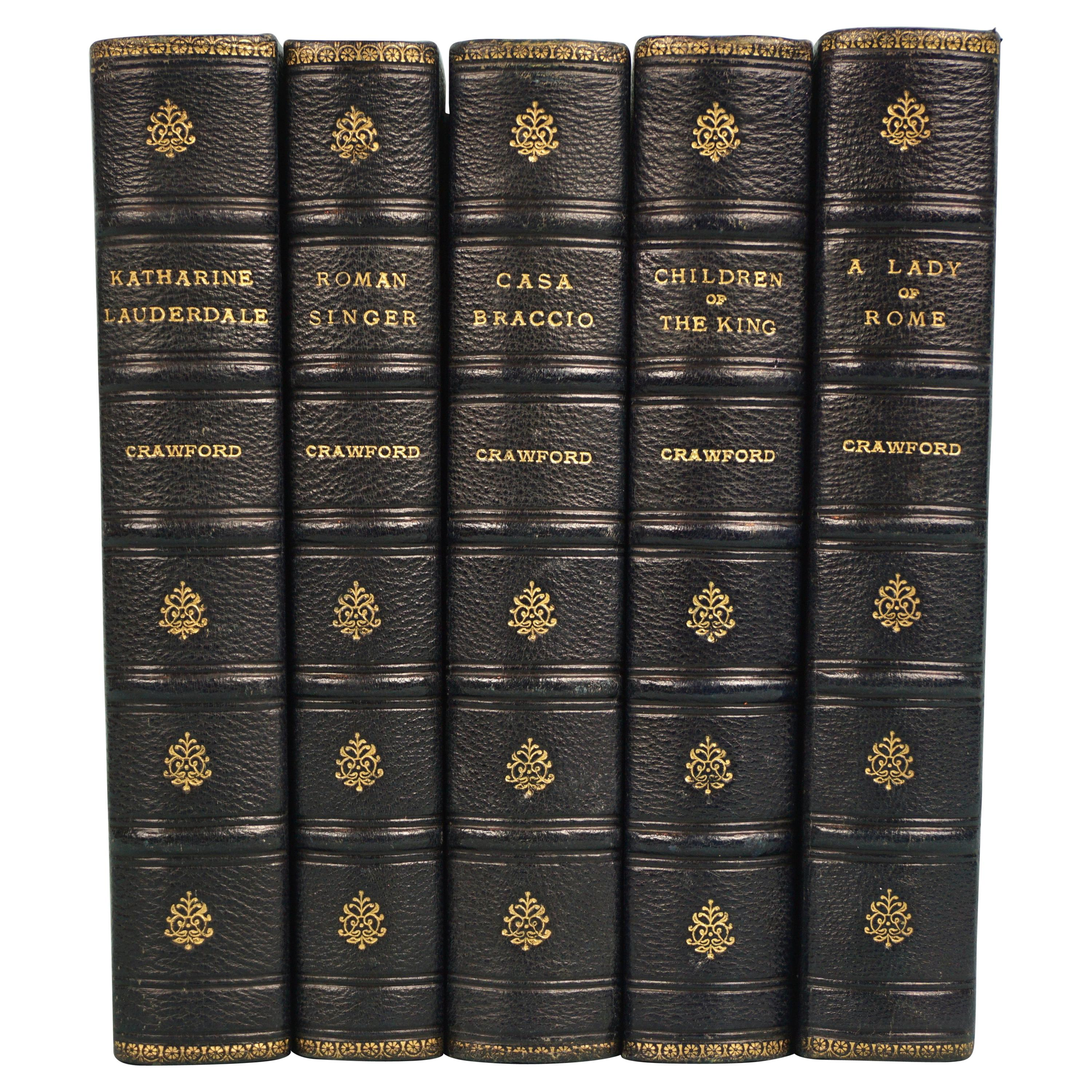 Works of F. Crawford in 5 Volumes Bound in Blue Morocco Leather with Gilt Spines