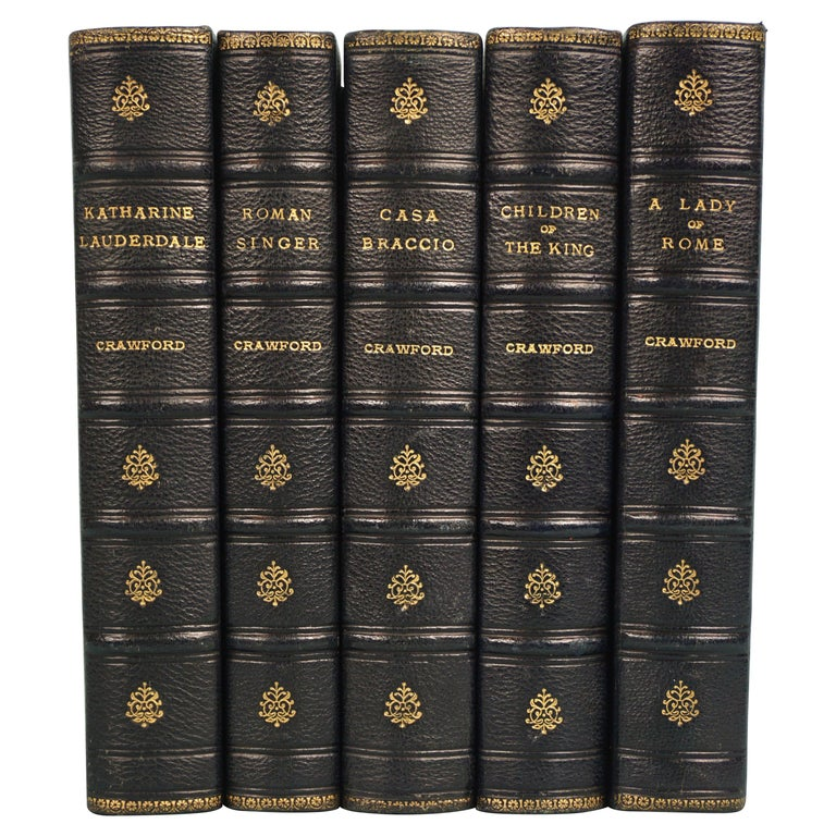 Works of F. Crawford in 5 Volumes Bound in Blue Morocco Leather with Gilt Spines For Sale