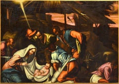 Adoration Shepherds Paint Oil on canvas 17th Century Italy Holy Art Quality