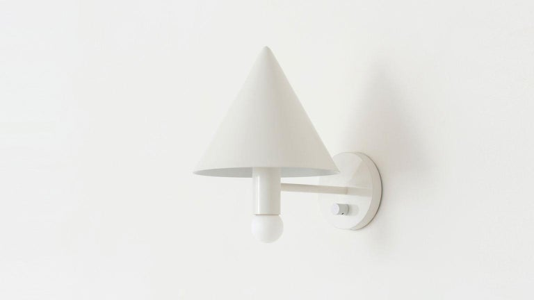 American Workstead Canopy Sconce in White Enamel For Sale