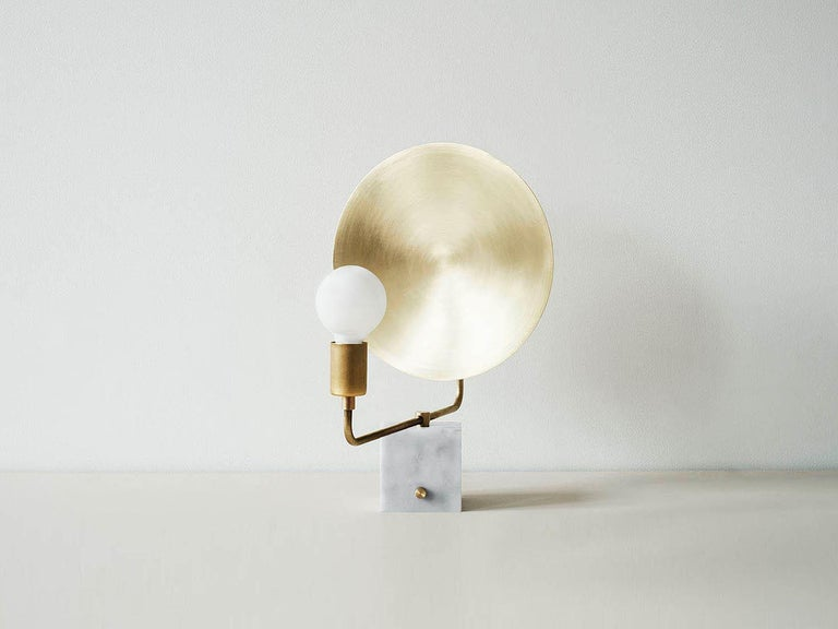 American Workstead Helios Table Lamp, Marble Base and Brass Dish For Sale