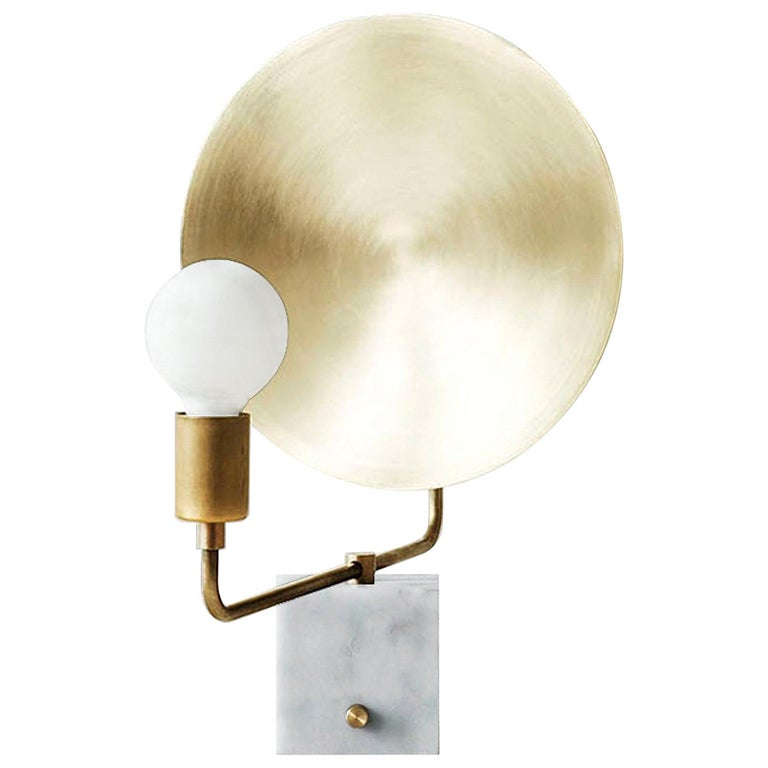 Workstead Helios Table Lamp, Marble Base and Brass Dish For Sale