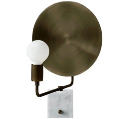 Workstead Helios Table Lamp with Marble Base and Large Bronze Convex Reflector