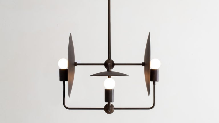 American Classical Workstead Orbit Chandelier Hand Finished Bronze For Sale