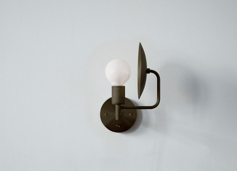 American Classical Workstead Orbit Sconce in Hand Finished Bronze For Sale