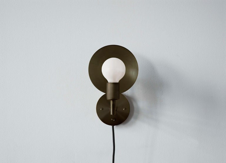 Spun Workstead Orbit Sconce in Hand Finished Bronze For Sale