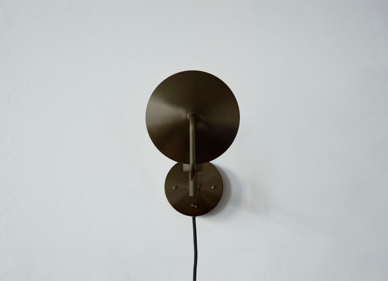Brass Workstead Orbit Sconce in Hand Finished Bronze For Sale