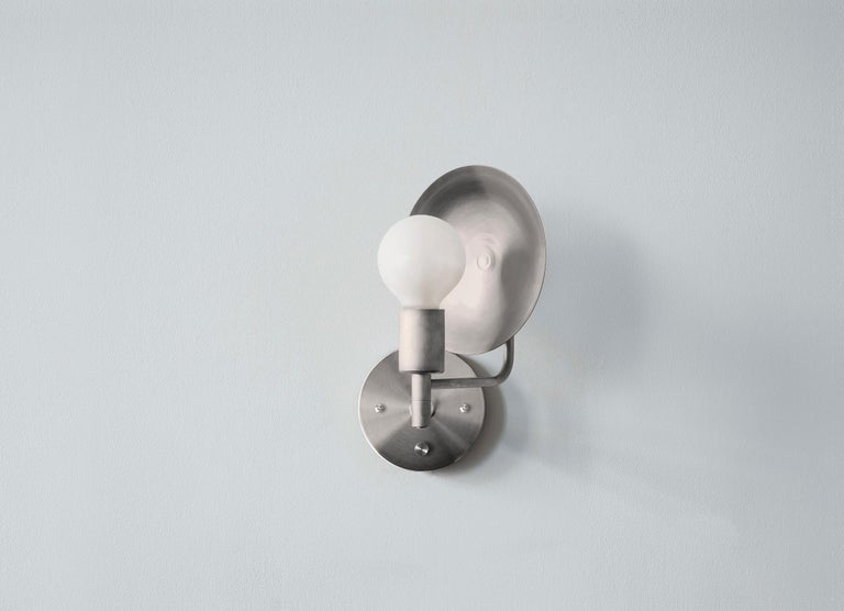 American Workstead Orbit Sconce with Spun Nickel Swivel and Convex Reflector For Sale