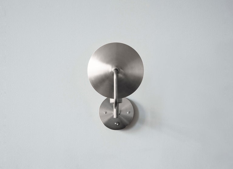 Contemporary Workstead Orbit Sconce with Spun Nickel Swivel and Convex Reflector For Sale